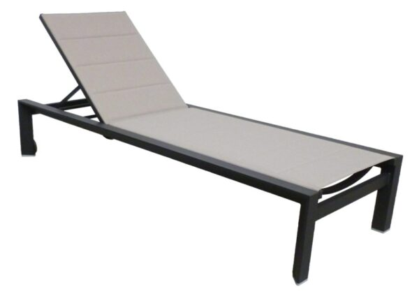 padded sunlounge chair charcoal champagne