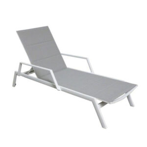 white gray padded lounger with armrests